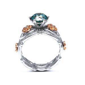 Blue Diamond Engagement  Ring Set Round Diamond Ring Set 14K Two Tone Gold Matching Rings