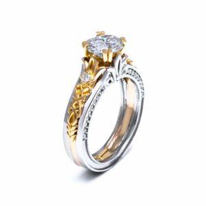Moissanite Engagement Ring 14K Two Tone Gold 1 Carat Moissanite Ring Antique Moissanite Engagement Ring