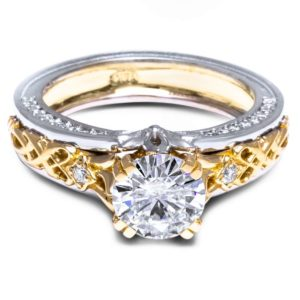 Moissanite Engagement Ring 14K Two Tone Gold 1 Carat Moissanite Ring Antique Moissanite Engagement Ring