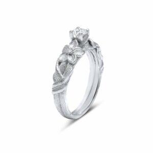 Unique Branch Engagement Ring Lab Grown Diamond Ring 14K White Gold Ring Twig Engagement Ring