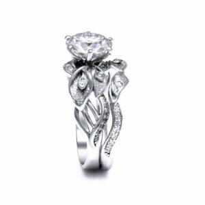 Moissanite Engagement Ring Set 14K White Gold Moissanite Rings Calla Lily Design Engagement Rings