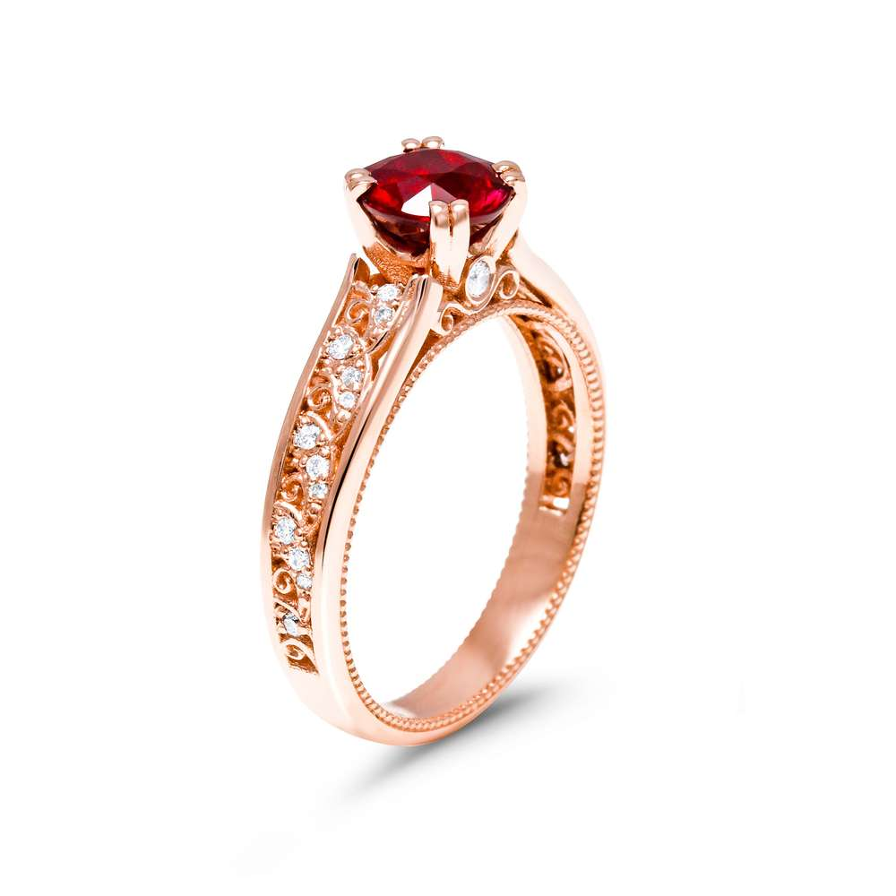 Ruby Engagement Ring Unique 14K Rose Gold Engagement Ring Ruby Vintage Ring