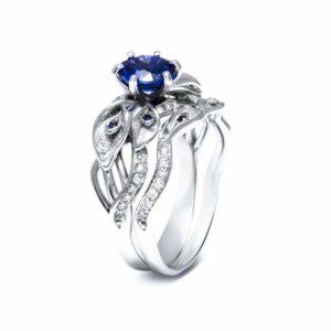 Sapphire Engagement Ring Set 14K White Gold Rings Sapphire Engagement Ring with Matching Band