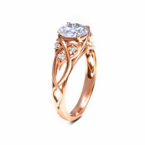 14K White Gold Unique Engagement Rings Moissanite Ring Unique Design Engagement Ring