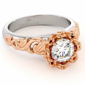 Moissanite Engagement Ring Leaf Engagement Ring White Gold Ring Solitaire Diamond Ring