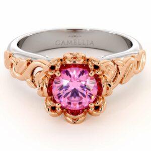 Moissanite Engagement Ring Leaf Engagement Ring White Gold Ring Solitaire Flower Ring