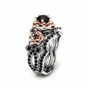Black Diamond Engagement Ring Set 14K Two Tone Gold Black Diamond Rings Floral Engagement Ring with Matching Band