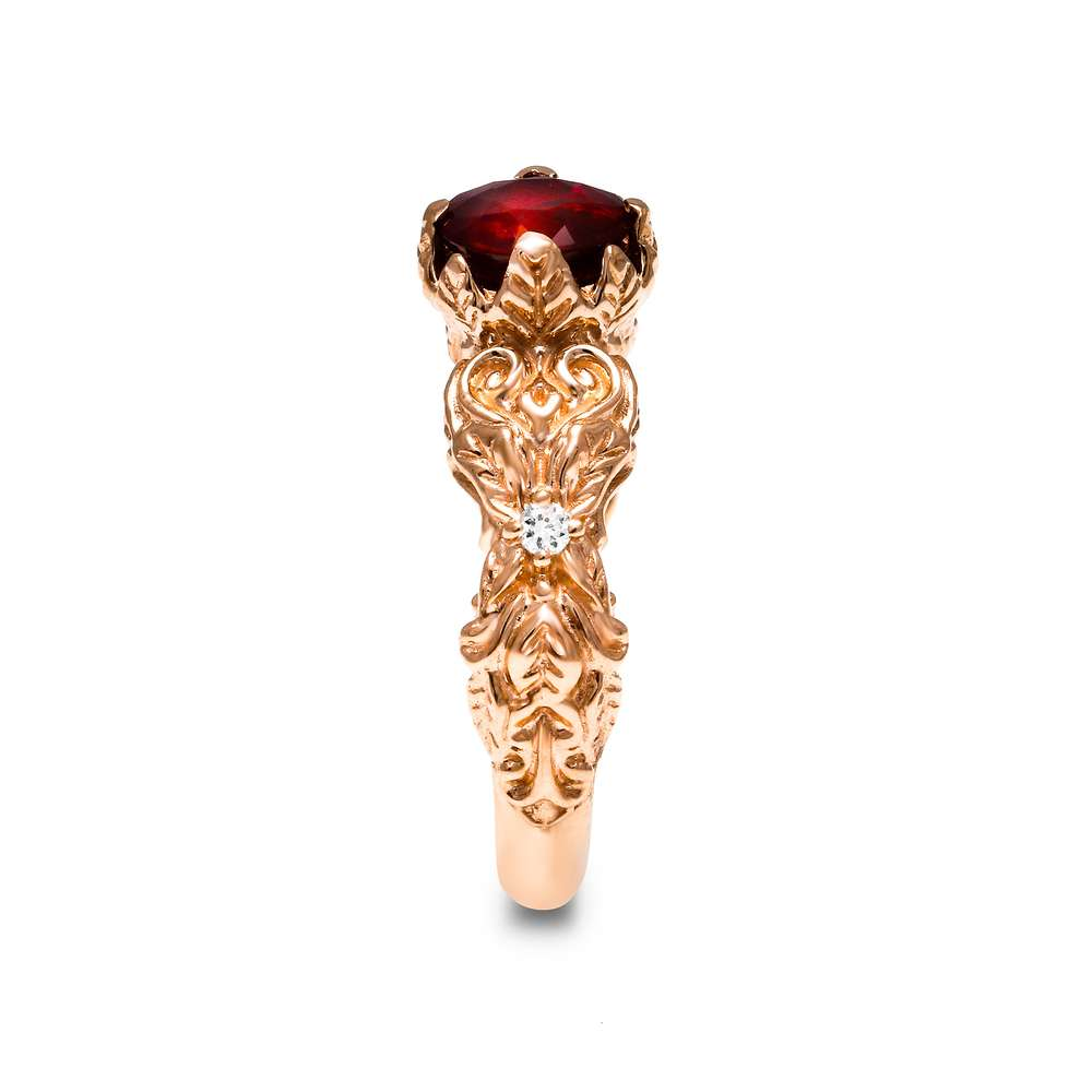 Ruby Engagement Ring 14K Rose Gold Nature Ring Ruby Engagement Ring