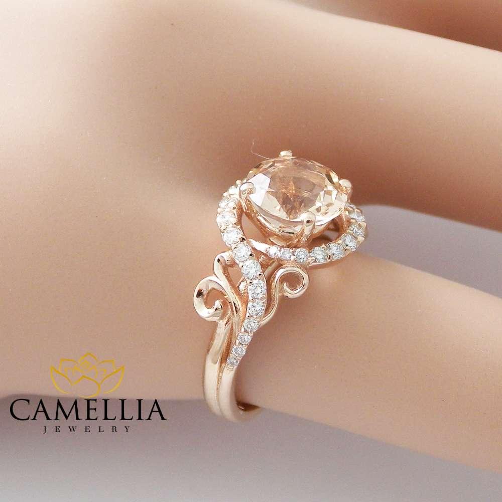 14K Rose Gold Engagement Ring Rose Gold Morganite Ring Peach Pink Morganite Engagement Ring Unique Engagement Ring