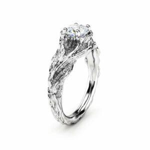 Moissanite Branch Engagement Ring White Gold Twig Ring Nature handmade Ring