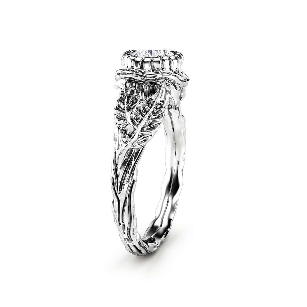 Moissanite Leaf Engagement Ring White Gold Branch Ring Nature handmade Ring
