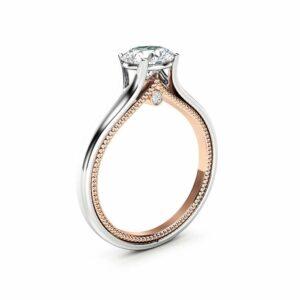 Unique Engagement Ring White & Rose Gold Ring Moissanite Engagement Ring