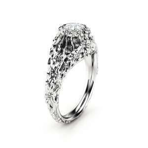 Moissanite Twig Engagement Ring White Gold Branch Ring Nature Handmade Ring