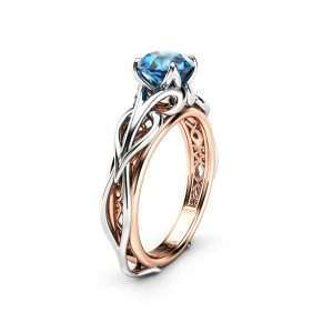 Unique Solitaire Blue Diamond Engagement Ring 14K Two Tone Gold Diamond Ring Swirl Design Engagement Ring