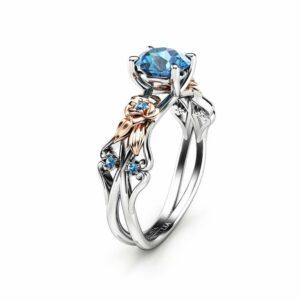 Petal Blue Diamond Engagement Ring White & Rose Gold Ring Gold Diamond Ring