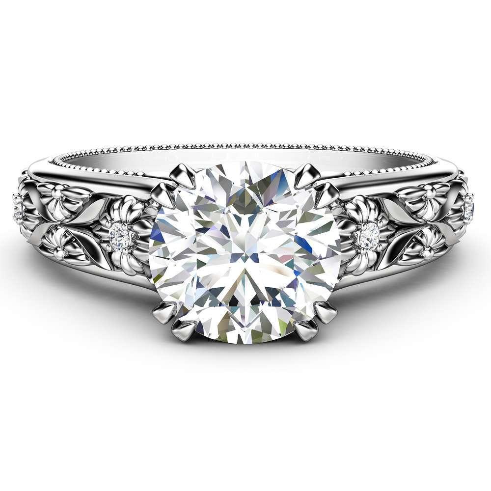 Filigree Flowers Moissanite Engagement Ring 14K White Gold Ring Unique Floral Ring Anniversary Gift