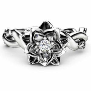 Diamond Engagement Ring Flower Ring Twist 14K White Gold Ring Solitaire Engagement Ring