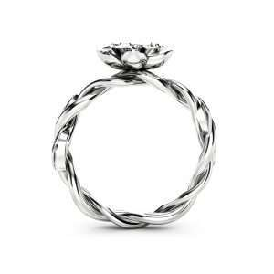 Diamond Engagement Ring Flower Ring Twist 14K White Gold Ring Solitaire Engagement Ring