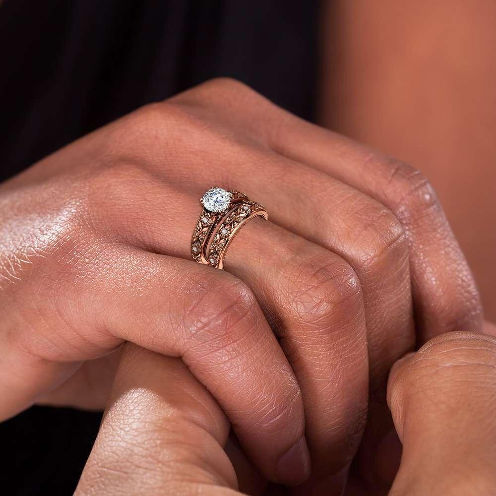 Filigree Flowers Moissanite Wedding Ring Set 14K Rose Gold Ring Unique Floral Ring Bridal Set