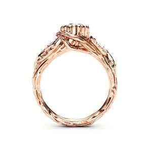 Moissanite Leaf Engagement Ring Rose Gold Branch Ring Nature handmade Ring