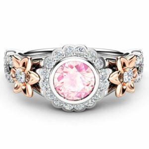Floral Engagement Ring-CVD Diamond Engagement Ring-Man Made Diamond-Lab Grown Diamond-Anniversary Ring
