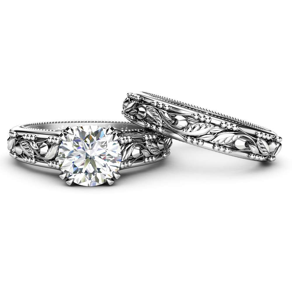 Moissanite Engagement Ring Set White Gold Solitaire Ring With Matching Band Bridal Ring Set Leaves Ring