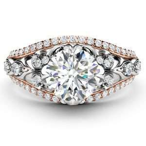 Diamond Engagement Ring 14K 2 Tone Gold Ring Unique Art Deco Engagement Ring