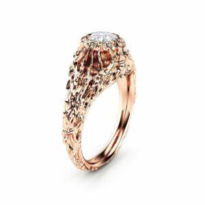 Moissanite Twig Engagement Ring Rose Gold Branch Ring Nature Handmade Ring