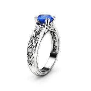 Filigree Flowers Sapphire Engagement Ring 14K White Gold Ring Unique Floral Ring Anniversary Gift