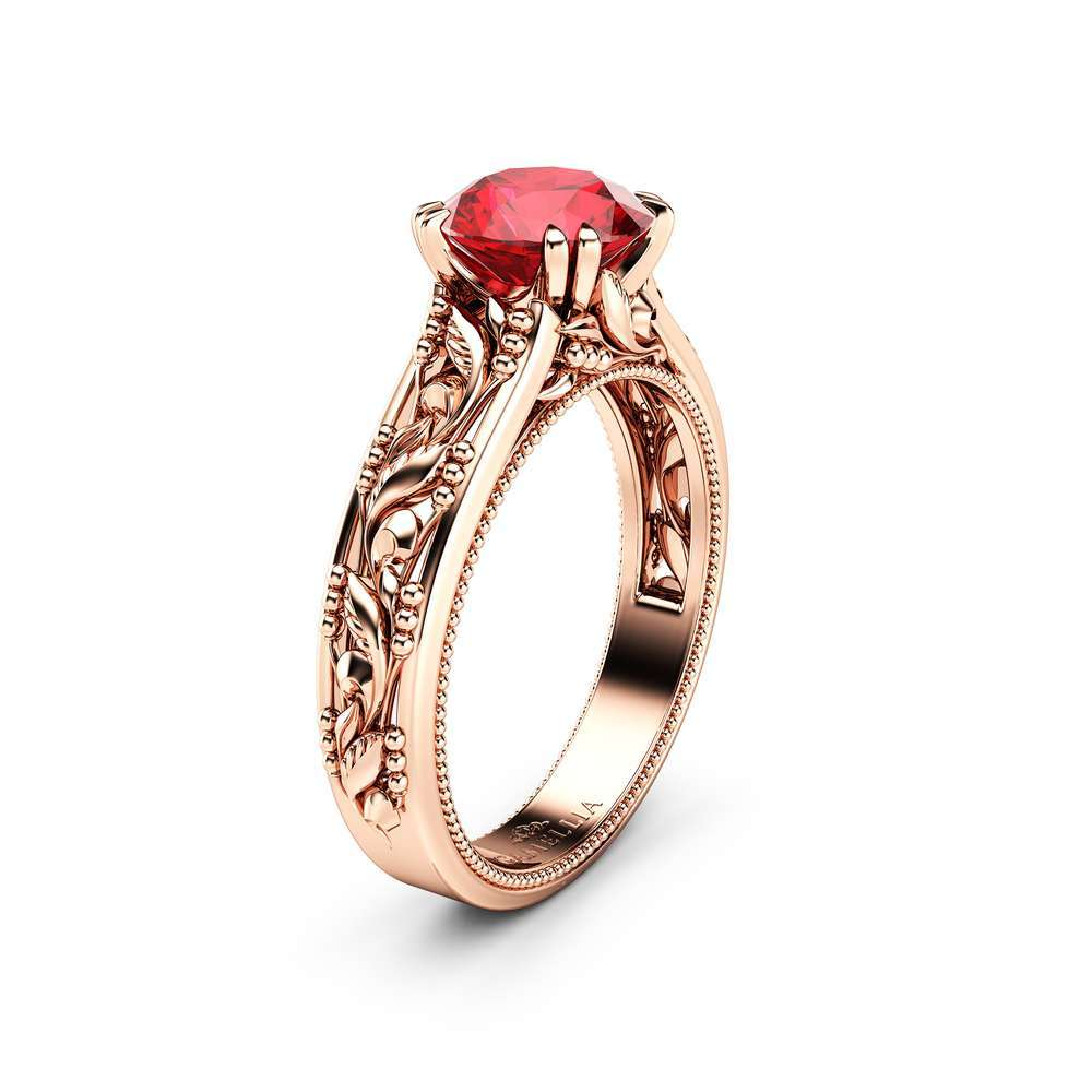 Ruby Engagement Ring Rose Gold Solitaire Ring Leaves Ring Anniversary Gift