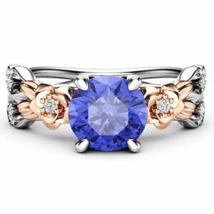Natural Tanzanite Engagement Ring-Unique Engagement Ring-Floral Ring-Tanzanite Gemstone Anniversary Ring