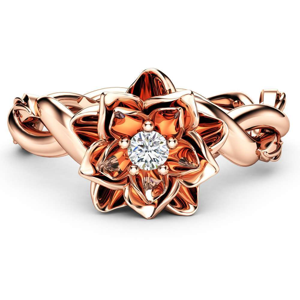 Diamond Engagement Ring Flower Ring Twist 14K Rose Gold Ring Solitaire Engagement Ring