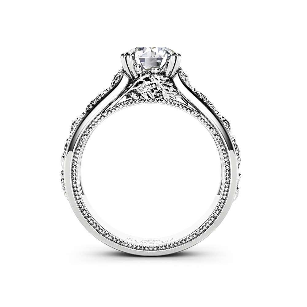 Unique Moissanite Engagement Ring 14K White Gold Wedding Ring Nature Inspired Engagement Ring