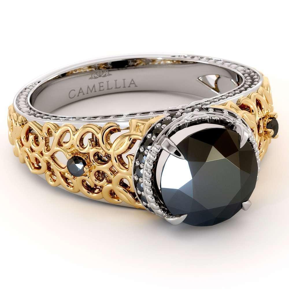 Art Deco 2.00 Ct Engagement Ring | Round Black Diamond Filigree Ring | Art Deco 14K Two Tone Gold Engagement Ring