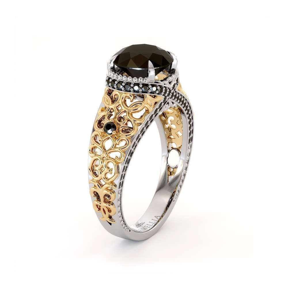Art Deco 2.00 Ct Engagement Ring   Round Black Diamond Filigree Ring   Art Deco 14K Two Tone Gold Engagement Ring