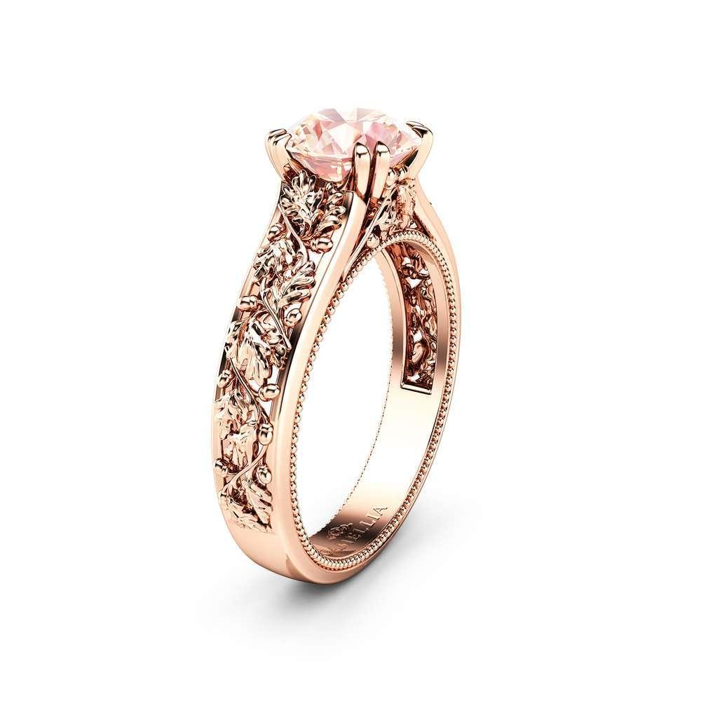 Morganite Engagement Ring Natural 1.2 Ct Morganite Ring Gemstone Solitaire Ring