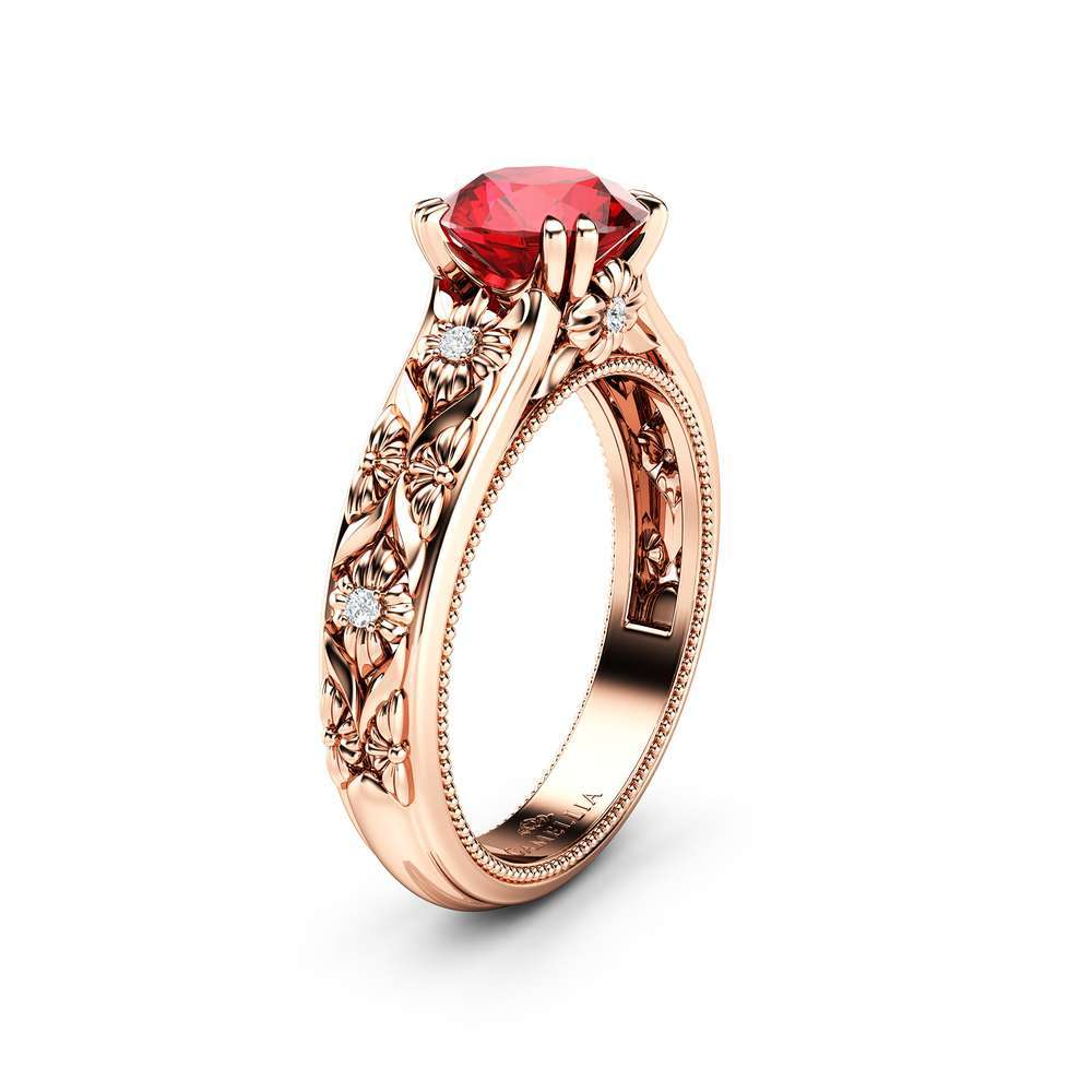 Filigree Flowers Ruby Engagement Ring 14K Rose Gold Ring Unique Floral Ring Anniversary Gift