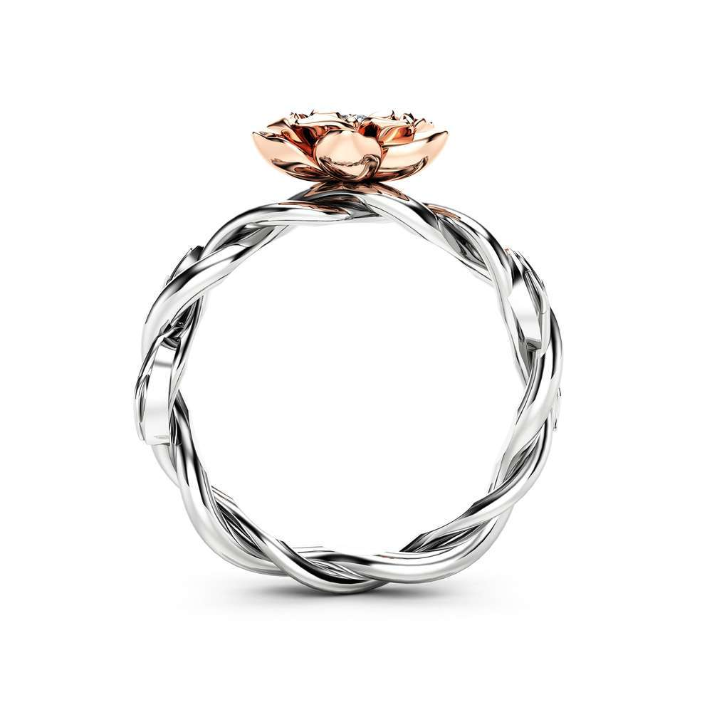 Diamond Engagement Ring Flower Ring Twist 14K Two Tone Gold Ring Solitaire Engagement Ring