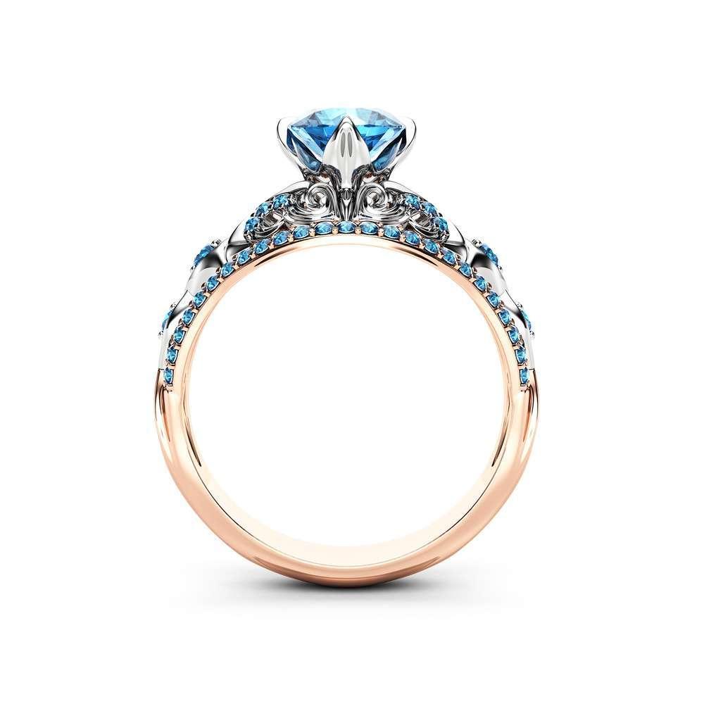 Blue Diamond Engagement Ring Unique Vintage Diamonds Ring 14K 2 Tone Gold Ring
