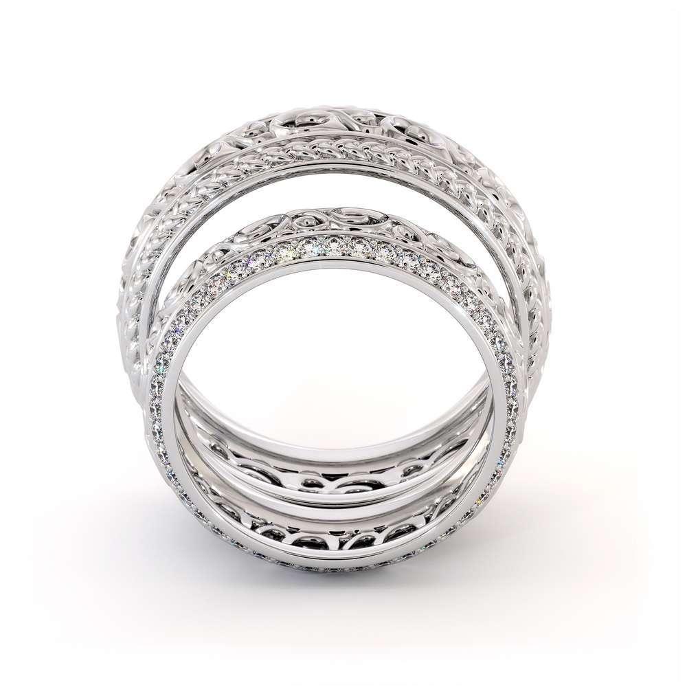 Wedding Band His And Hers Set-14K White Gold Wedding Rings-Filigree Matching Band Set