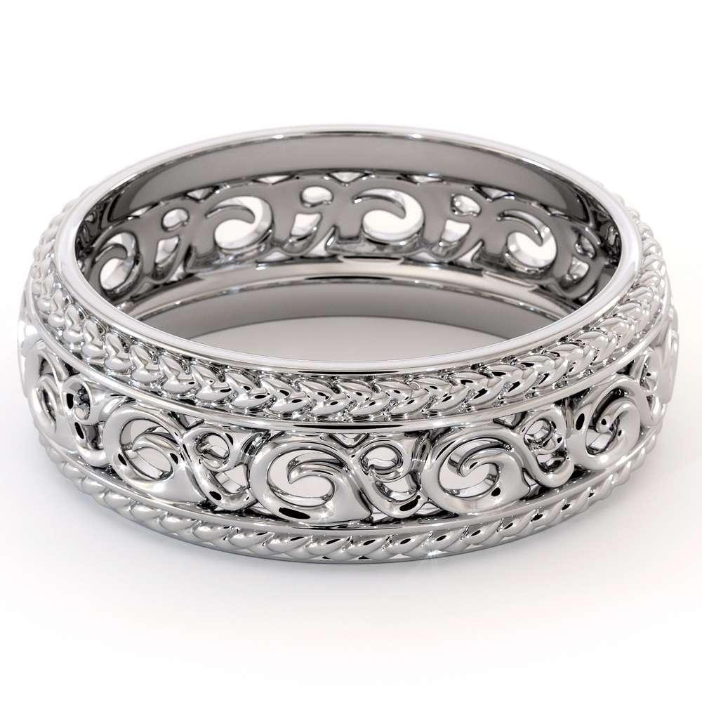 Mens Wedding Band-14K White Gold Wedding Band-Men Wedding Ring