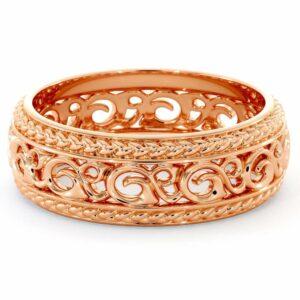 Mens Wedding Band-14K Rose Gold Wedding Band-Men Wedding Ring