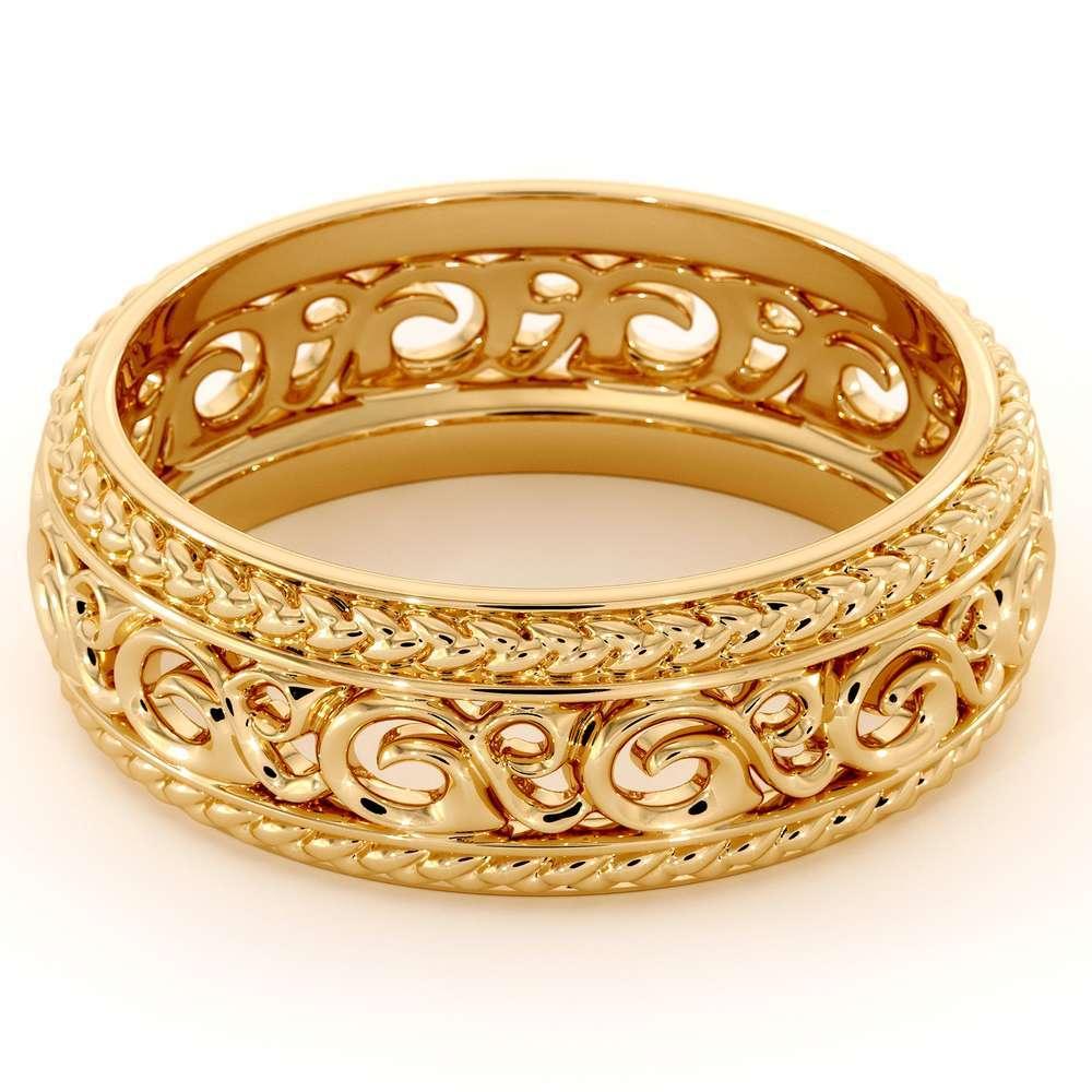 Mens Wedding Band-14K Yellow Gold Wedding Band-Men Wedding Ring