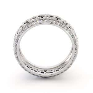White Gold Diamonds Wedding Band Eternity Engagement Band Filigree Wedding Diamond Ring