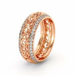 Rose Gold Diamonds Wedding Band Eternity Engagement Band Filigree Wedding Diamond Ring