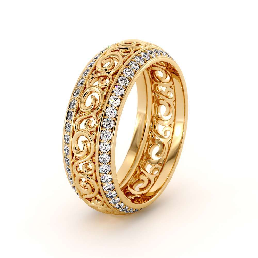 Yellow Gold Diamonds Wedding Band Eternity Engagement Band Filigree Wedding Diamond Ring