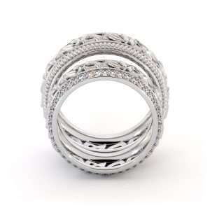 His and Hers Art Deco Wedding Band Set-14K White Gold Wedding Rings-Matching Band Set
