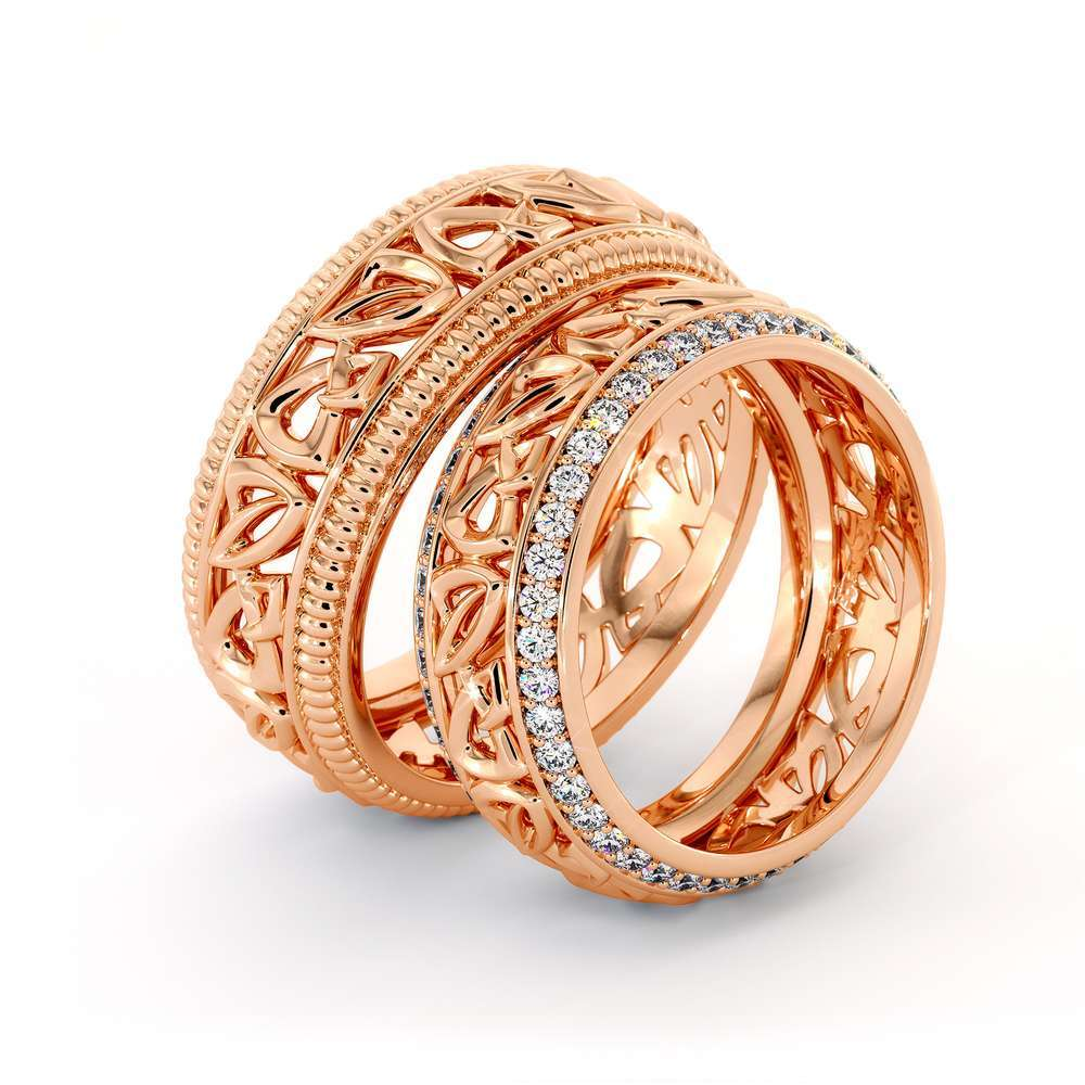 His and Hers Art Deco Wedding Band Set-14K Rose Gold Wedding Rings-Matching Band Set