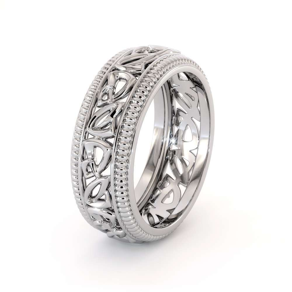 Wedding Band For Men-14K White Gold Handmade Wedding Band-Vintage Wedding Ring