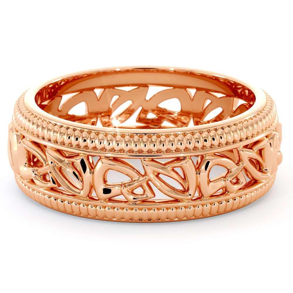 Wedding Band For Men-14K Rose Gold Handmade Wedding Band-Vintage Wedding Ring